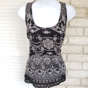 Tops - Sequin lace tank top